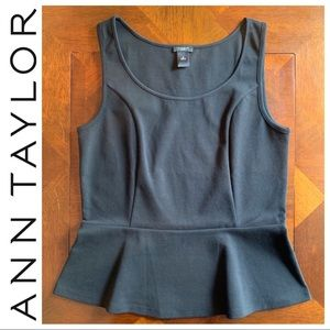 NWOT Ann Taylor Cotton Peplum Top, M, Black